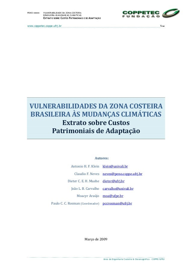PENO-NNNNN  VULNERABILIDADE DA ZONA COSTEIRA BRASILEIRA ÀS MUDANÇAS CLIMÁTICAS  EXTRATO SOBRE CUSTOS PATRIMONIAIS E DE ADA...