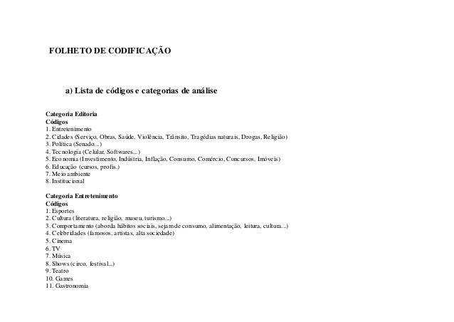 FOLHETO DE CODIF ICAÇÃO       a) Lista de códigos e categorias de análiseCategoria EditoriaCódigos1. Entretenimento2. Cida...
