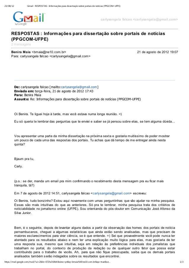 23/08/12            Gmail - RESPOSTAS : Informações para dissertação sobre portais de notícias (PPGCOM-UFPE)              ...
