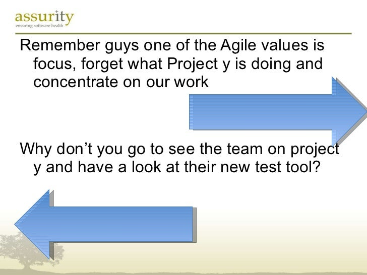 <ul><li>Remember guys one of the Agile values is focus, forget what Project y is doing and concentrate on our work </li></...