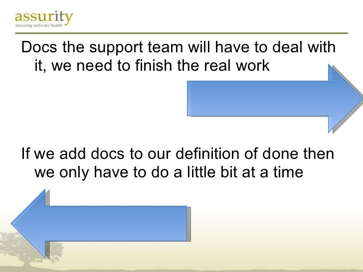 <ul><li>Docs the support team will have to deal with it, we need to finish the real work </li></ul><ul><li>If we add docs ...