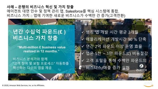 © 2020, Amazon Web Services, Inc. or its Affiliates. 사례 – 은행의 비즈니스 혁신 및 가치 창출 에이전트 대면 인수 및 정책 관리 앱. Salesforce를 핵심 시스템에 통합...