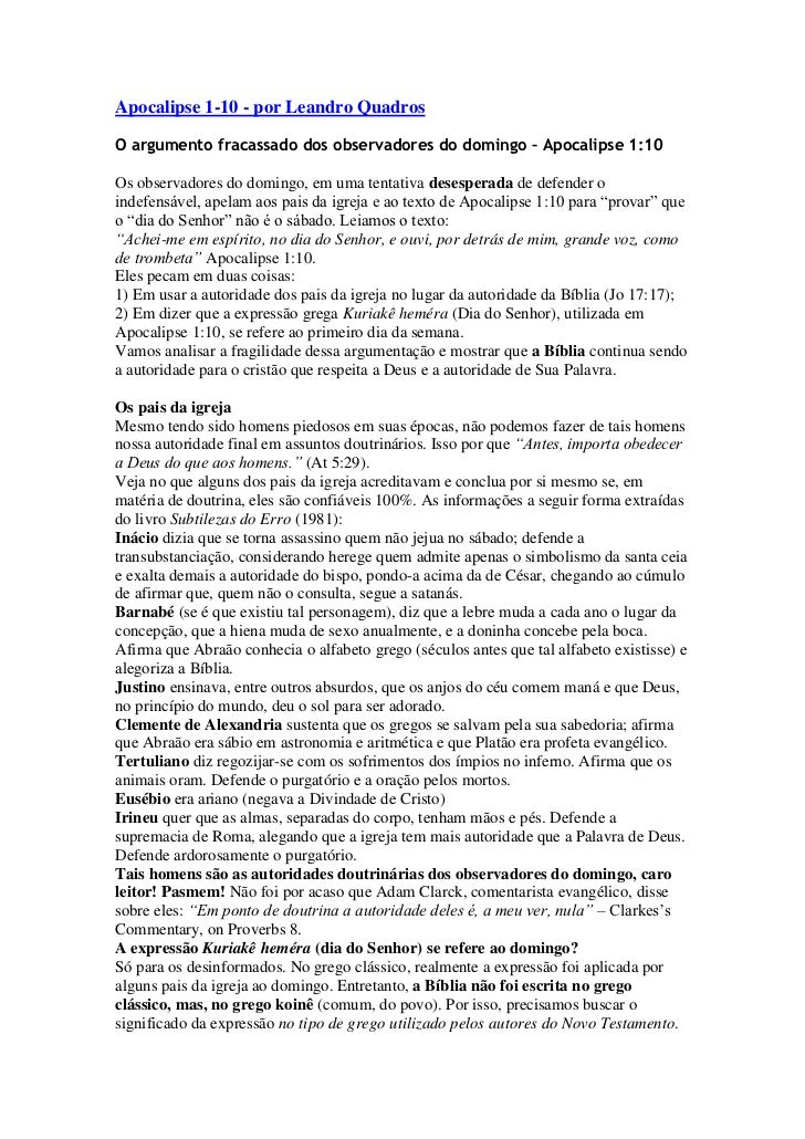 Apocalipse 1-10 - por Leandro QuadrosO argumento fracassado dos observadores do domingo – Apocalipse 1:10Os observadores d...