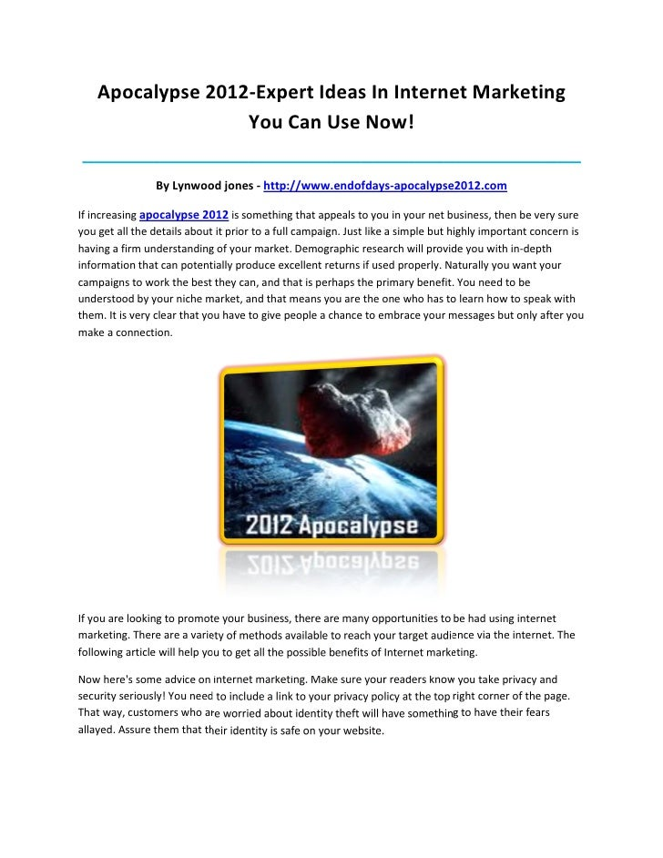 Apocalypse 2012-Expert Ideas In Internet Marketing                   You Can Use Now!_____________________________________...