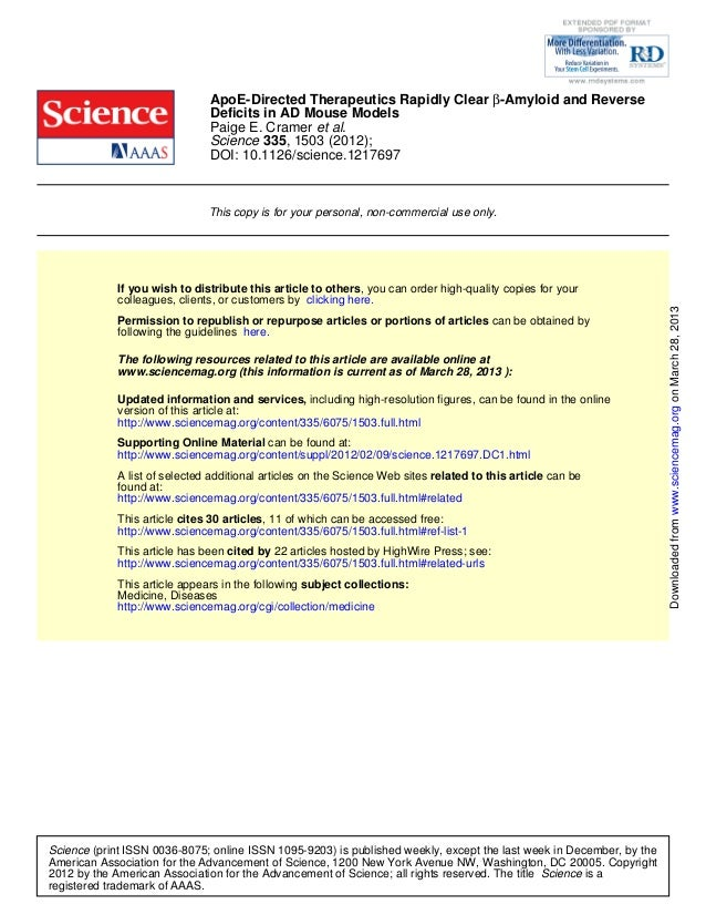 DOI: 10.1126/science.1217697 , 1503 (2012);335Science et al.Paige E. Cramer Deficits in AD Mouse Models -Amyloid and Rever...