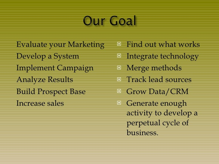 <ul><li>Evaluate your Marketing </li></ul><ul><li>Develop a System </li></ul><ul><li>Implement Campaign </li></ul><ul><li>...