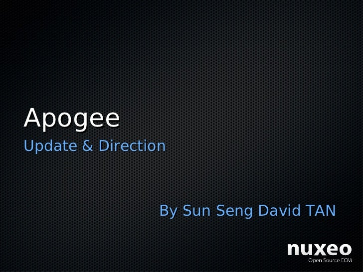 Apogee Update & Direction                     By Sun Seng David TAN