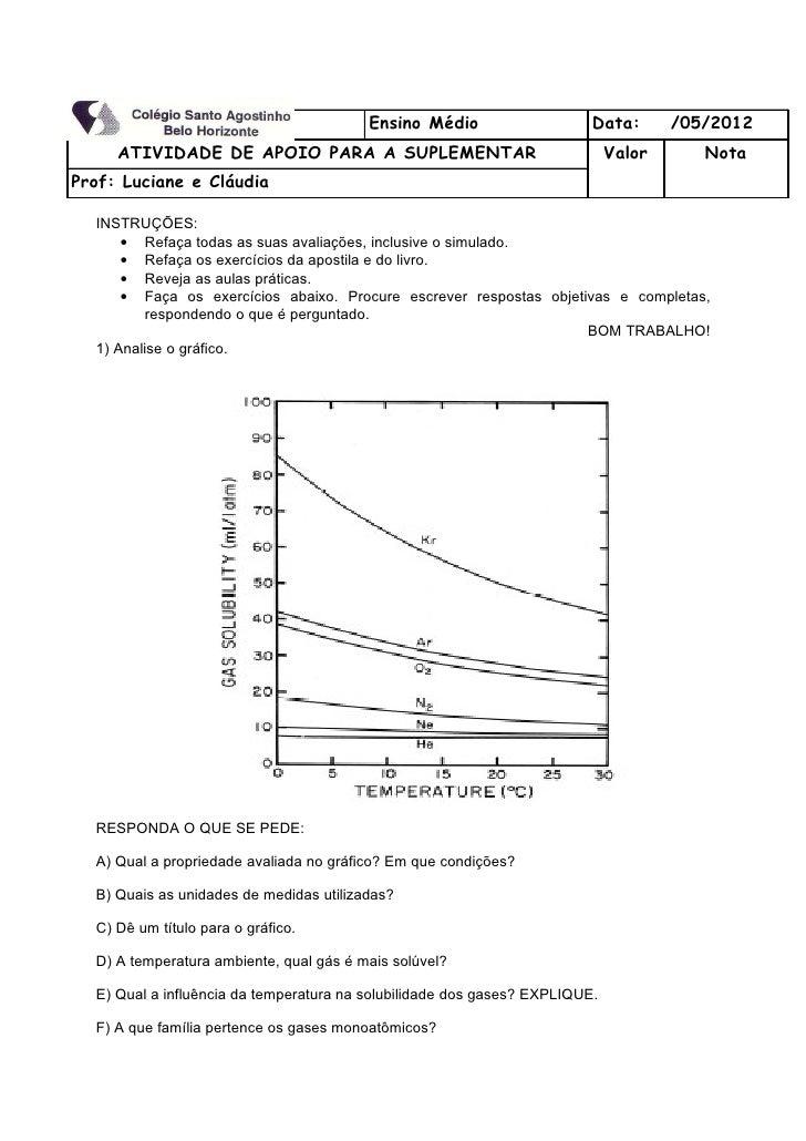 Série: 1ª          Turma:                Ensino Médio                    Data:       /05/2012     ATIVIDADE DE APOIO PARA ...