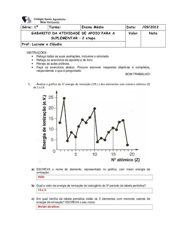 Série: 1ª             Turma:                   Ensino Médio                       Data:       /09/2012        GABARITO DA ...