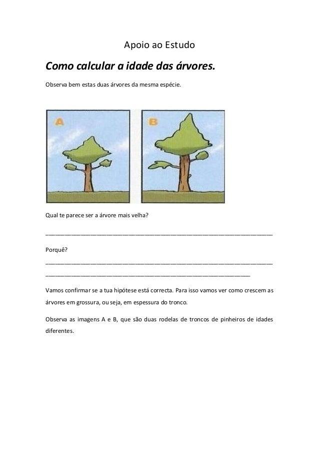 Apoio ao Estudo Como calcular a idade das árvores. Observa bem estas duas árvores da mesma espécie. Qual te parece ser a á...