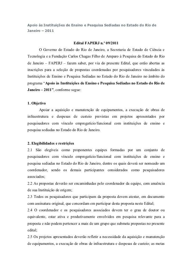 Apoio às Instituições de Ensino e Pesquisa Sediadas no Estado do Rio deJaneiro – 2011                                Edita...