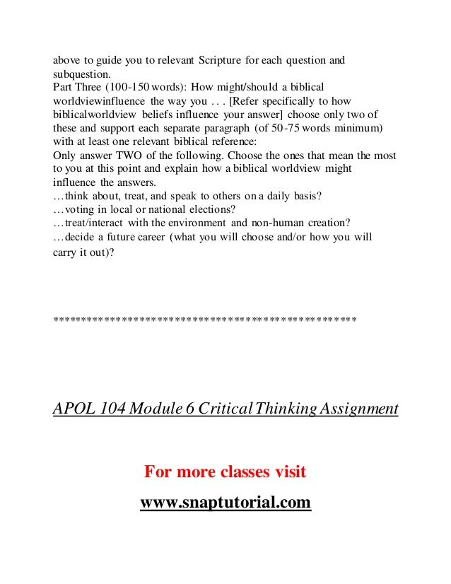 apol 104 critical thinking assignment