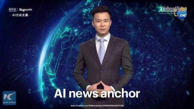 32 Andy Polaine – Design in the age of synthetic realities AI news anchor https://twitter.com/XHNews/status/10982212864912...