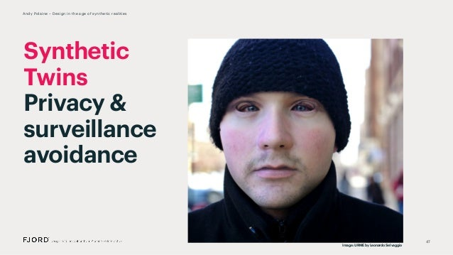 47 Andy Polaine – Design in the age of synthetic realities Synthetic Twins Privacy & surveillance avoidance Image: URME by...