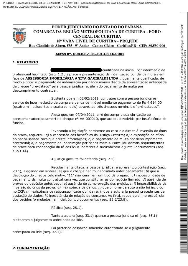 PODER JUDICIÁRIO DO ESTADO DO PARANÁ  COMARCA DA REGIÃO METROPOLITANA DE CURITIBA - FORO  CENTRAL DE CURITIBA  18ª VARA CÍ...