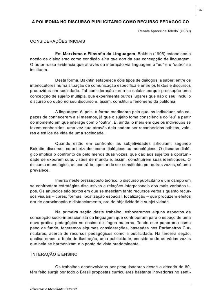47 A POLIFONIA NO DISCURSO PUBLICITÁRIO COMO RECURSO PEDAGÓGICO                                                          R...