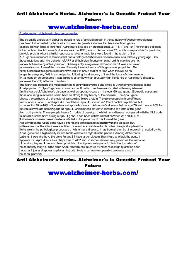 Anti Alzheimers Herbs. Alzheimers Is Genetic Protect Your                          Future                        www.alzhe...