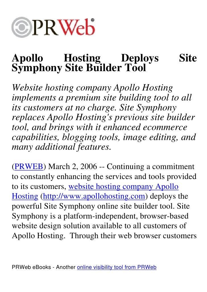 Apollo  Hosting      Deploys                               Site Symphony Site Builder Tool Website hosting company Apollo ...