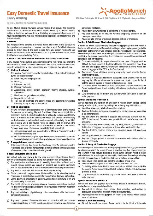 Easy Domestic Travel InsurancePolicy Wording                                                                            10...