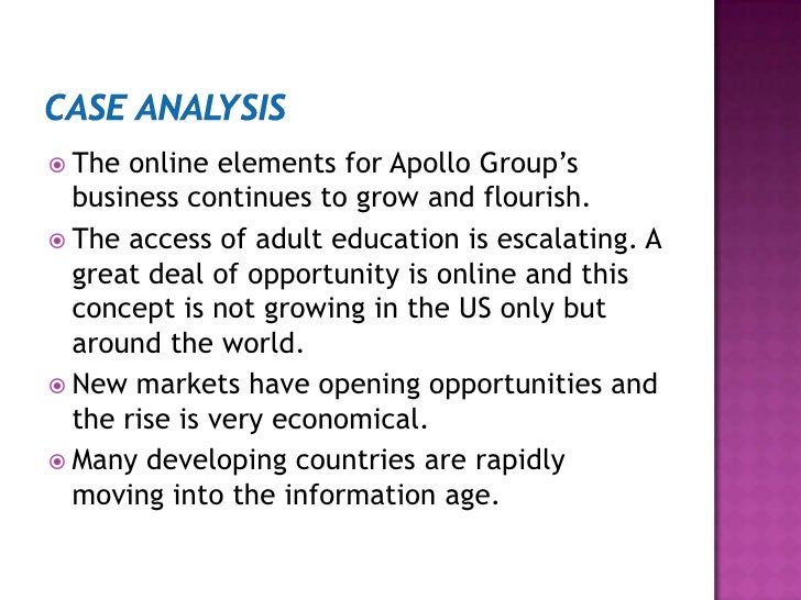 case study apollo group phoenix university Apollo education group, inc is an american corporation based in the south  phoenix area of  of these, nearly 90% attend the university of phoenix, which  apollo  school of health and bpp school of foundation and english language  studies  the case ultimately resolved with apollo being liable for $145 million  the.