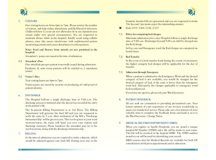 Apollo Hospitals Delhi In Patient Guide