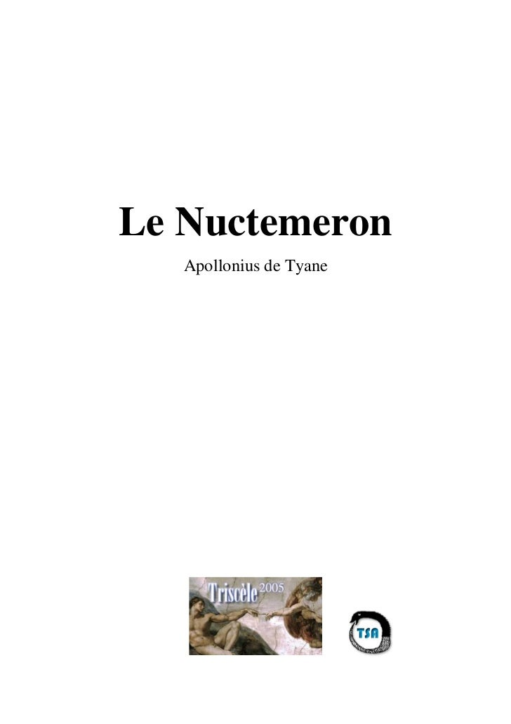 Le Nuctemeron   Apollonius de Tyane