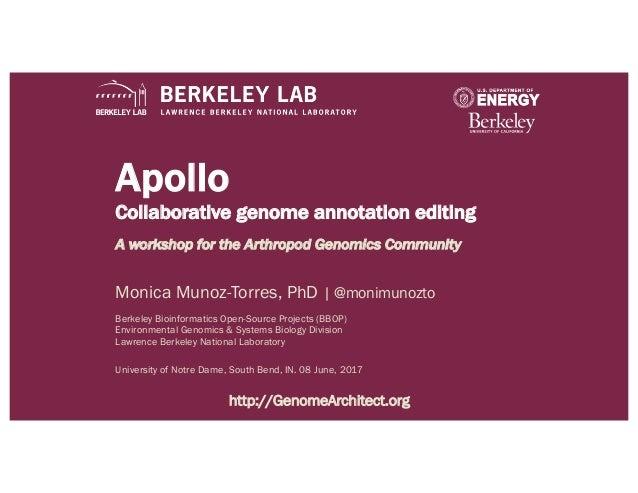 Apollo Collaborative genome annotation editing A workshop for the Arthropod Genomics Community Monica Munoz-Torres, PhD | ...