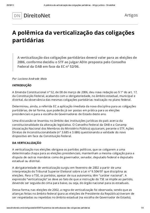 25/09/13 A polêmica da verticalização das coligações partidárias - Artigo jurídico - DireitoNet www.direitonet.com.br/arti...