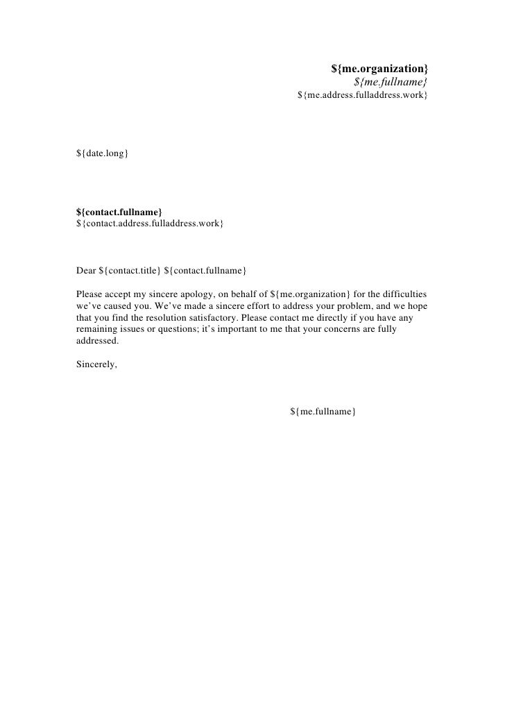 apologize letter