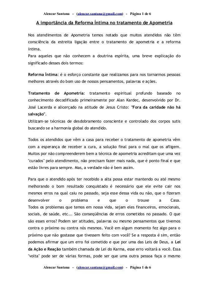 Alencar Santana - (alencar.santana@gmail.com) - Página 1 de 6  A importância da Reforma Íntima no tratamento de Apometria ...