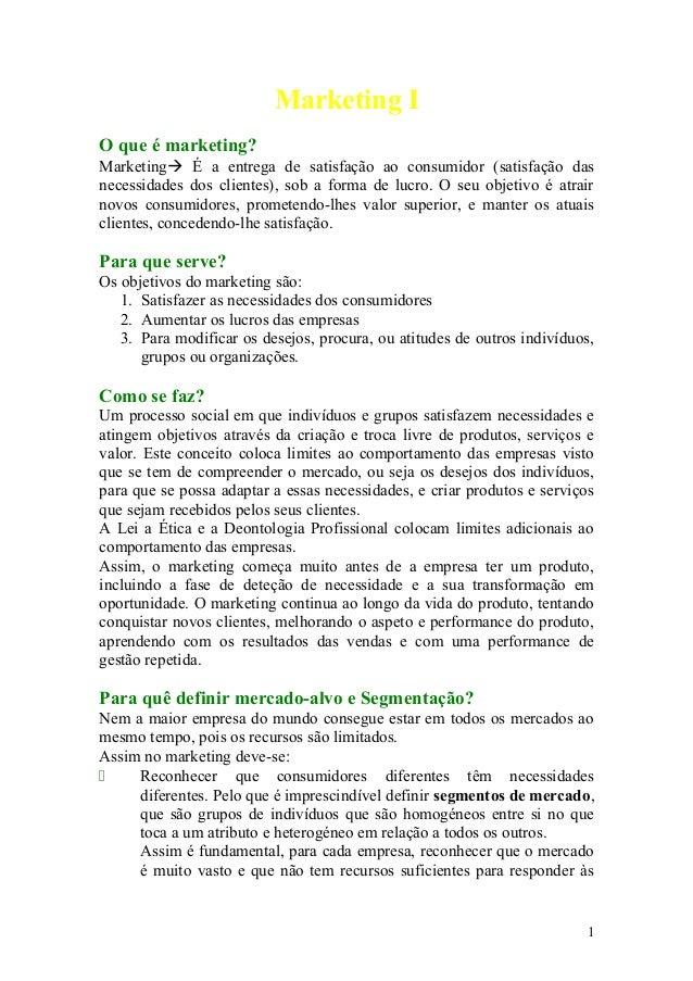 Marketing I O que é marketing? Marketing É a entrega de satisfação ao consumidor (satisfação das necessidades dos cliente...
