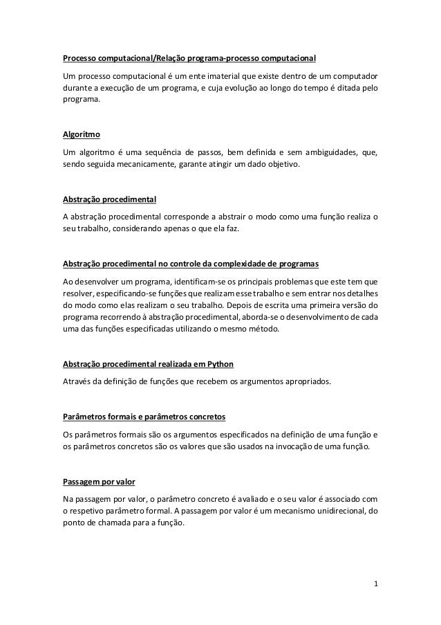 Processo computacional/Relação programa-processo computacional Um processo computacional é um ente imaterial que existe de...