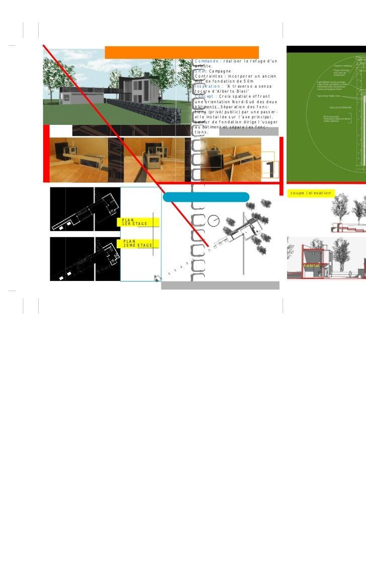Commande : réaliser le refuge d'un             artiste.             Site : Campagne             Contraintes : incorporer u...