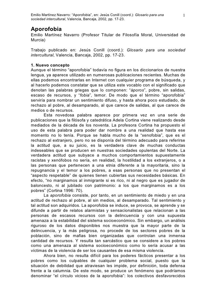 """Emilio Martínez Navarro: """"Aporofobia"""", en: Jesús Conill (coord.): Glosario para una   1 sociedad intercultural, Valencia, ..."""