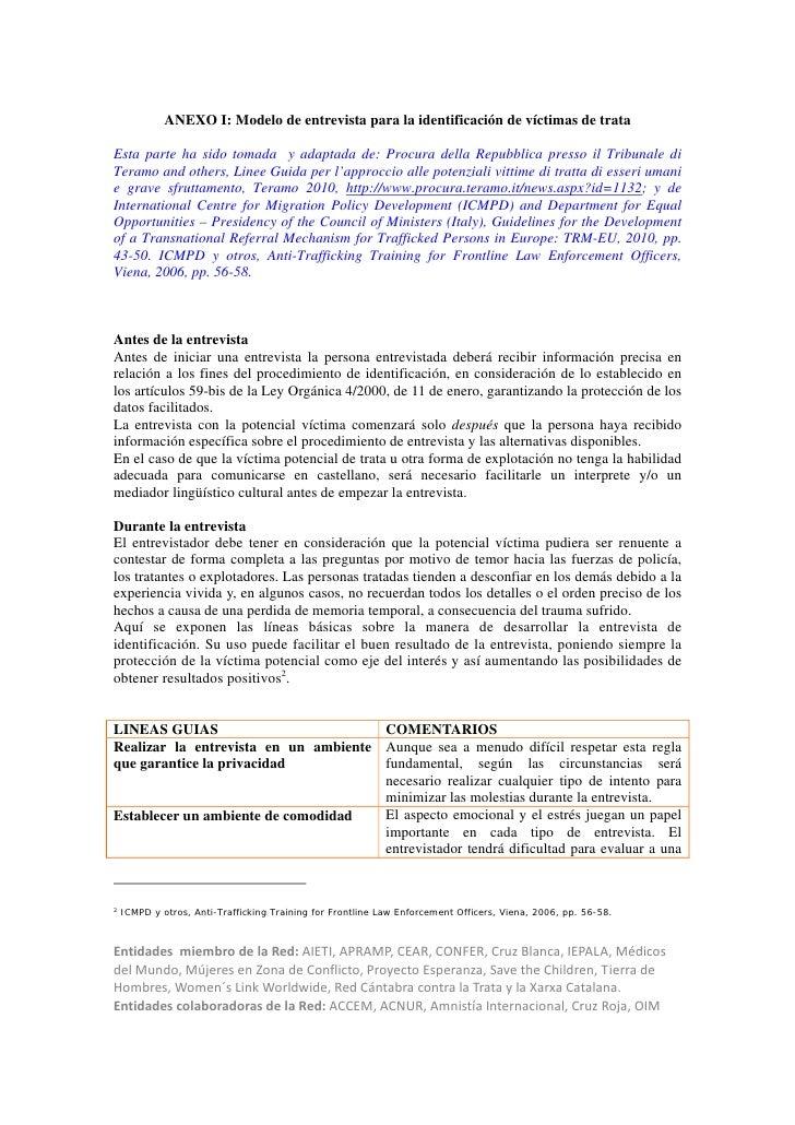 ANEXO I: Modelo de entrevista para la identificación de víctimas de trataEsta parte ha sido tomada y adaptada de: Procura ...
