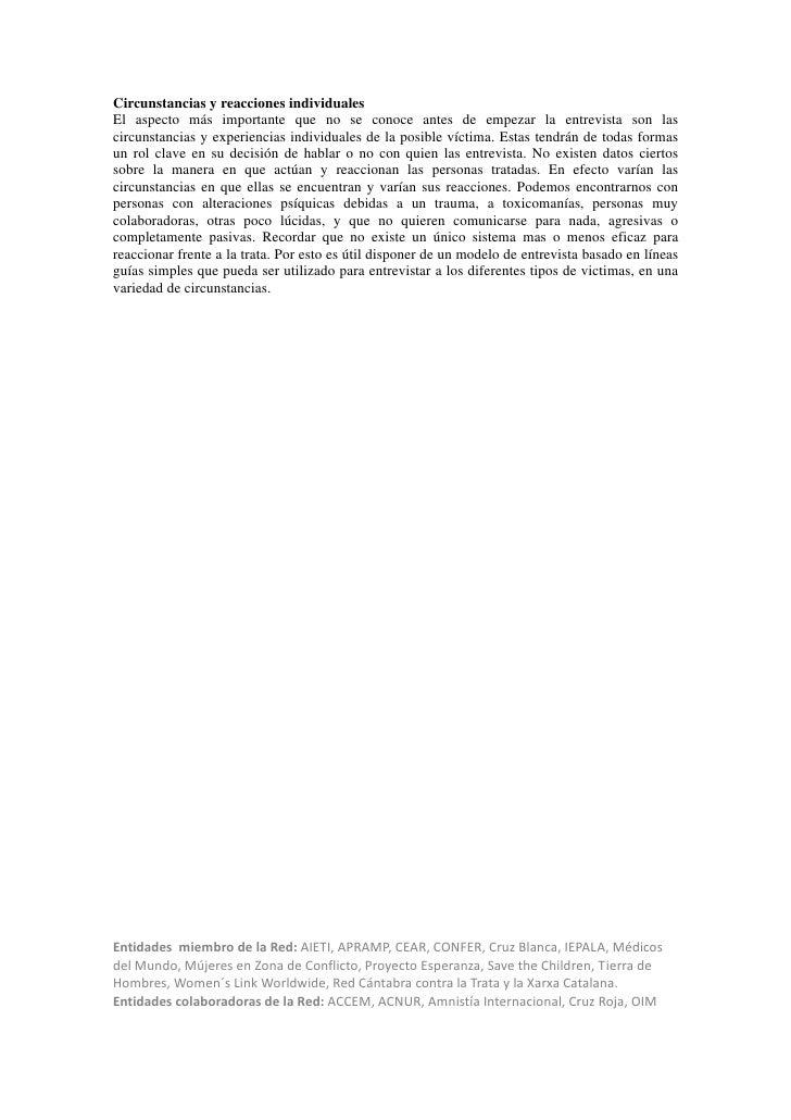 Recomendaciones al Protocolo Marco de Atención a Víctimas de Trata