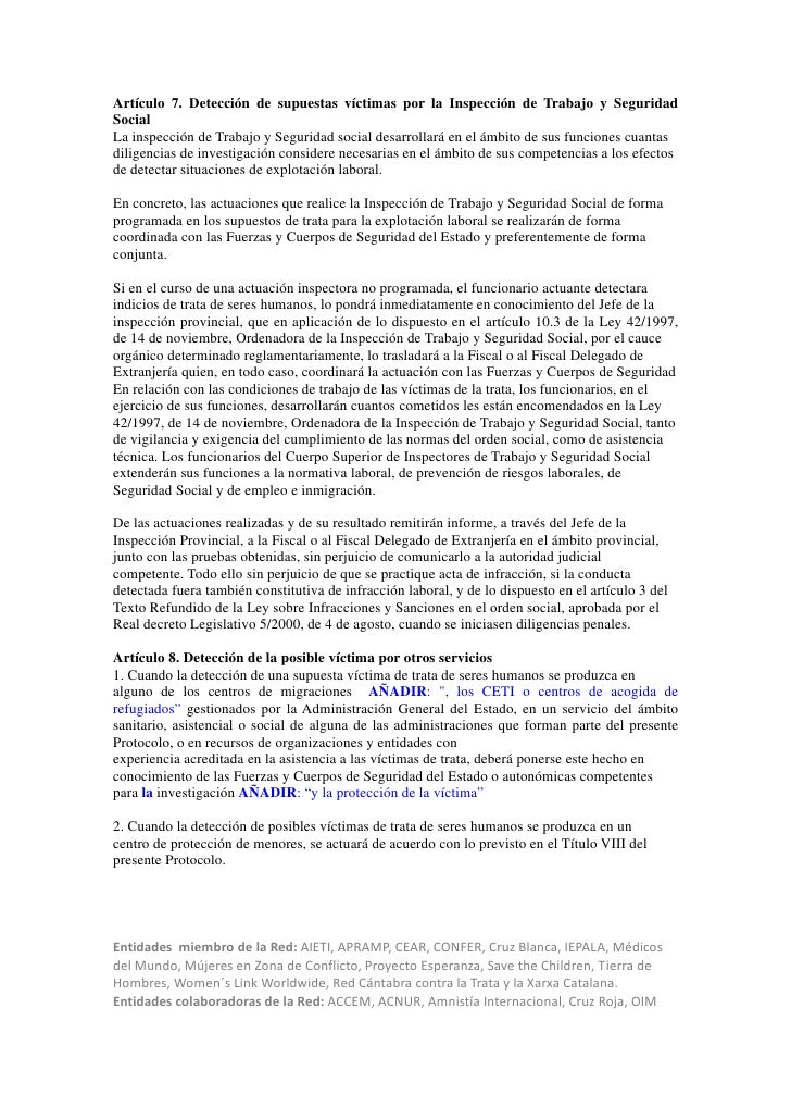 Artículo 7. Detección de supuestas víctimas por la Inspección de Trabajo y SeguridadSocialLa inspección de Trabajo y Segur...