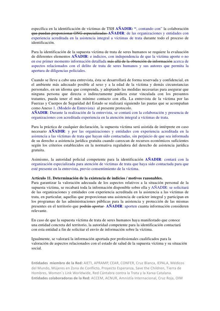 """específica en la identificación de víctimas de TSH AÑADIR: """", contando con"""" la colaboraciónque puedan proporcionar ONG esp..."""