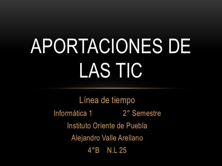 APORTACIONES DE    LAS TIC          Línea de tiempo  Informática 1         2° Semestre      Instituto Oriente de Puebla   ...