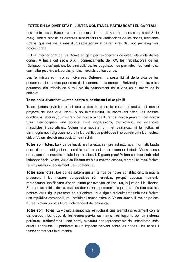 1 TOTES EN LA DIVERSITAT. JUNTES CONTRA EL PATRIARCAT I EL CAPITAL!! Les feministes a Barcelona ens sumem a les mobilitzac...