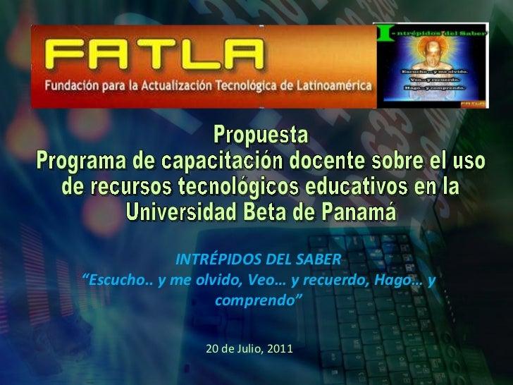 Propuesta Programa de capacitación docente sobre el uso  de recursos tecnológicos educativos en la Universidad Beta de Pan...