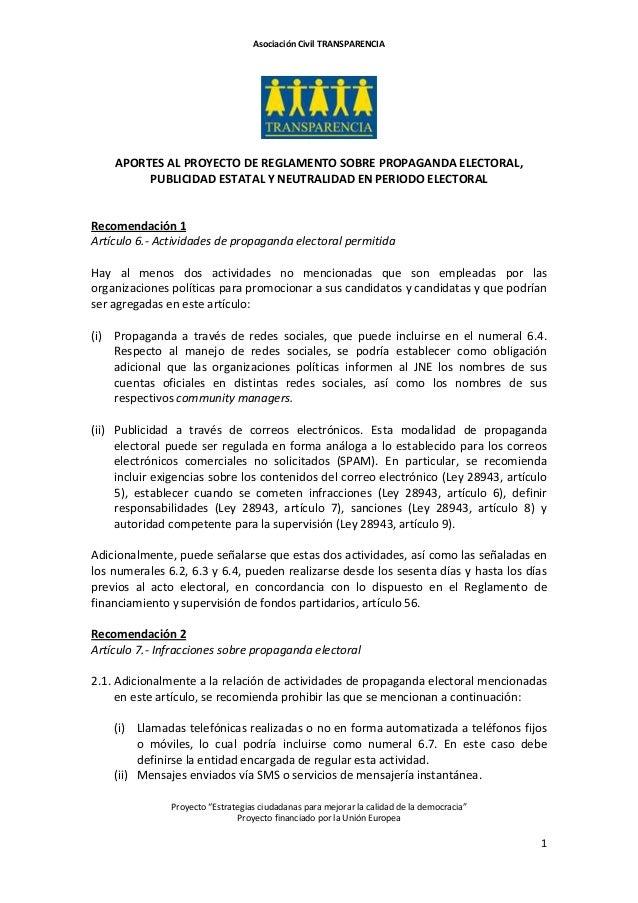 """Asociación Civil TRANSPARENCIA Proyecto """"Estrategias ciudadanas para mejorar la calidad de la democracia"""" Proyecto financi..."""
