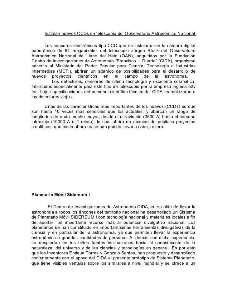 Instalan nuevos CCDs en telescopio del Observatorio Astronómico Nacional       Los sensores electrónicos tipo CCD que se i...