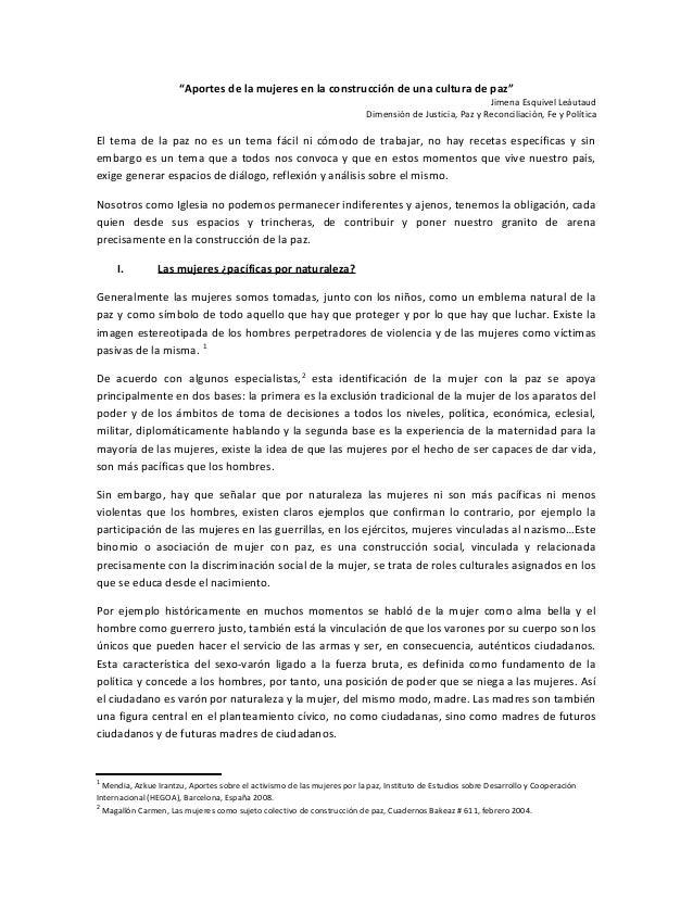 """""""Aportes de la mujeres en la construcción de una cultura de paz"""" Jimena Esquivel Leáutaud Dimensión de Justicia, Paz y Rec..."""