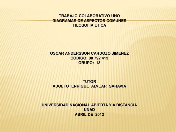 TRABAJO COLABORATIVO UNO    DIAGRAMAS DE ASPECTOS COMUNES            FILOSOFIA ETICA   OSCAR ANDERSSON CARDOZO JIMENEZ    ...