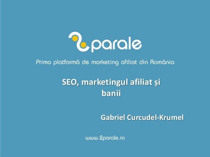 SEO, marketingul afiliat și          banii            Gabriel Curcudel-Krumel