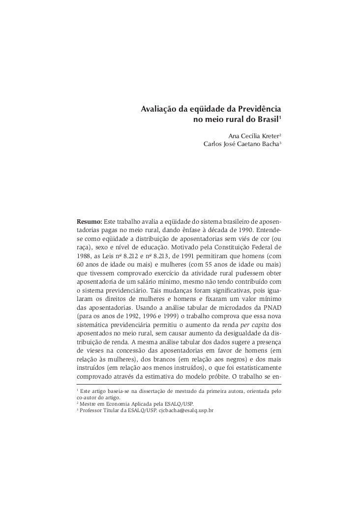 Avaliação da eqüidade da Previdência                                        no meio rural do Brasil1                      ...