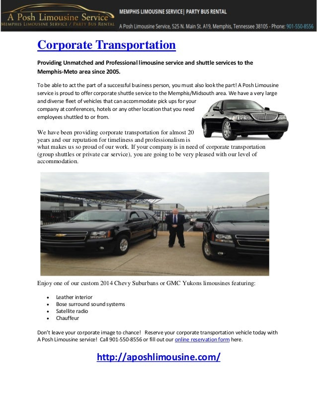 A Posh Limousine Corporate Shuttle Service