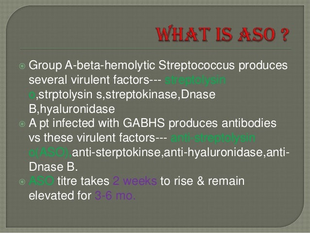 Adult aso in streptococcus titer