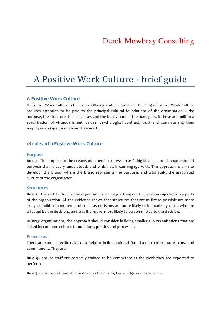 Derek Mowbray Consulting        A Positive Work Culture - brief guide A Positive Work Culture A Positive Work Culture is b...